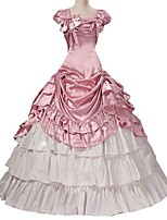 abordables -Rococo Victorien Costume Femme Adulte Tenue Rose Claire Vintage Cosplay Taffetas Manches Courtes Gigot / Ballon