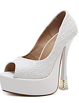 cheap -Women's Shoes PU Spring Summer Comfort Novelty Heels Stiletto Heel Peep Toe Bowknot for Wedding Party & Evening White Black