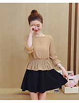 cheap -Women's Going out Simple Cross-Seasons Blouse Skirt Suits,Solid Round Neck 3/4 Length Sleeves Cotton Polyester