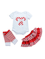 cheap -Girls' Daily Striped Print Clothing Set,Cotton All Season Summer Short Sleeve Cute Active Red
