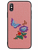 cheap -Case For Apple iPhone X iPhone 8 Frosted Pattern Back Cover Butterfly Flower Soft PU Leather for iPhone X iPhone 8 Plus iPhone 8 iPhone 7
