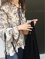 cheap -Women's Casual/Daily Boho Summer Blouse,Floral Round Neck Long Sleeves 100% Polyester