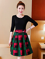 cheap -Women's Going out Simple Winter Fall T-shirt Skirt Suits,Solid Geometric Round Neck Long Sleeves Pure Color Floral Cotton Polyester