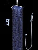 Недорогие -Современный На стену Дождевая лейка Ручная лейка входит в комплект LED Хром, Смеситель для душа