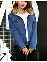 cheap -Women's Daily Casual Winter All Season Denim Jacket,Solid Round Neck Short Sleeve Regular Cotton Acrylic Pleated