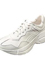 preiswerte -Damen Schuhe PU Winter Komfort Sneakers Keilabsatz Runde Zehe für Normal Weiß