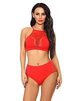 abordables -Bustiers Correspondants Vêtement de nuit Femme,Licou Couleur Pleine-Fin Polyester Blanc Noir Rouge