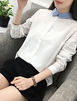 Недорогие -Для женщин На каждый день Зима Весна/осень Рубашка Рубашечный воротник,Активный Однотонный Длинные рукава,Хлопок,Средняя