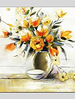 Недорогие -Ручная роспись Натюрморт Квадратный, Modern Hang-роспись маслом Украшение дома 1 панель