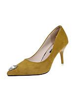preiswerte -Damen Schuhe PU Frühling Herbst Komfort High Heels Stöckelabsatz Geschlossene Spitze für Normal Schwarz Gelb Rot Mandelfarben