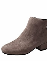 cheap -Women's Shoes Nubuck leather Winter Fall Comfort Bootie Boots Chunky Heel for Casual Black Beige Light Brown