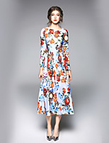 cheap -Women's Work A Line Dress - Floral Maxi