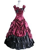 abordables -Rococo Victorien Costume Femme Adulte Tenue Rouge + noir. Vintage Cosplay Taffetas Manches Courtes Gigot / Ballon