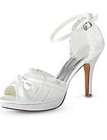 Недорогие -Для женщин Обувь Стретч-сатин Лето Туфли лодочки Свадебная обувь На шпильке Открытый мыс Пряжки для Свадьба Для вечеринки / ужина Со