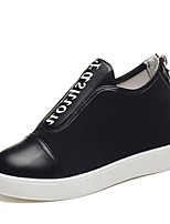 cheap -Women's Shoes PU Spring Fall Comfort Sneakers Flat Heel Round Toe for Casual Black White