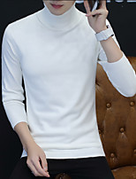 cheap -Men's Daily Solid Turtleneck Pullover, Long Sleeves Winter Polyester