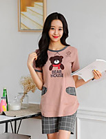 abordables -Costumes Pyjamas Femme,Motif Animal Opaque Polyester Rose Claire