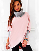 cheap -Women's Daily Going out Casual Street chic Winter Fall T-shirt,Print Color Block Turtleneck Long Sleeve Polyester Spandex Medium