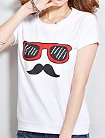 preiswerte -Damen Druck Freizeit Alltag T-shirt,Rundhalsausschnitt Sommer Kurze Ärmel Baumwolle