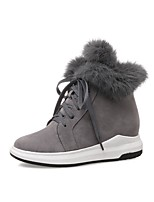 cheap -Women's Shoes Nubuck leather Spring Fall Bootie Boots Creepers Round Toe Booties/Ankle Boots for Casual Gray Black
