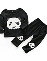 cheap -Baby Boys' Daily Print Clothing Set,Cotton Spring Active Long Sleeve Black