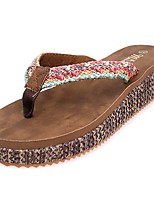 cheap -Women's Shoes PU Spring Summer Comfort Slippers & Flip-Flops Flat Round Toe for Casual Brown
