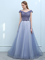 cheap -Ball Gown Off-the-shoulder Sweep / Brush Train Tulle Prom Formal Evening Dress with Beading Sequins by SG