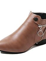 abordables -Mujer Zapatos PU Primavera Otoño Confort Botas de Moda Botas Tacón Bajo Botines/Hasta el Tobillo para Casual Negro Caqui
