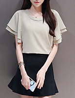 cheap -Women's Going out Casual/Daily Simple Fall T-Shirt Skirt Suits,Solid Round Neck Short Sleeves Cotton