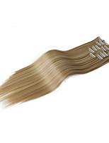 Недорогие -24inch синтетический клип в прямом свете блондинка # 613 # 27 # 2 натуральный синтетический мягкий прямой 150 грамм 8 штук клип в