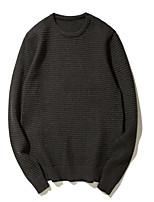 Недорогие -Для мужчин На каждый день Обычный Пуловер Однотонный,Круглый вырез Длинный рукав Шерсть Полиэстер Осень Средняя Слабоэластичная