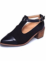 cheap -Women's Shoes PU Spring Fall Comfort Heels Chunky Heel for Casual Black Brown