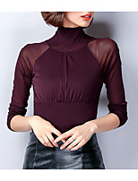 cheap -Women's Daily Casual Fall T-shirt,Solid Turtleneck Long Sleeve Cotton Opaque