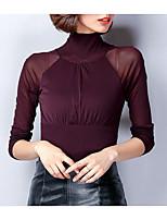 economico -T-shirt Da donna Quotidiano Casual Autunno,Tinta unita A collo alto Cotone Maniche lunghe Opaco