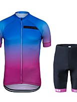 cheap -Wisdom Leaves Cycling Jersey with Shorts Unisex Short Sleeves Bike Clothing Suits Bike Wear Quick Dry Geometric Cycling / Bike Blue+Pink