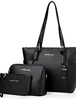 cheap -Women Bags PU Bag Set 3 Pcs Purse Set Zipper for Casual Office & Career All Season Gray Blushing Pink Black Blue