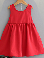 cheap -Girl's Solid Dress, Cotton Summer Sleeveless Simple Red