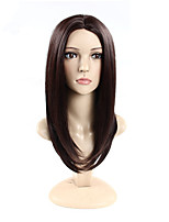 cheap -Synthetic Hair Wigs Straight Natural Hairline Layered Haircut Capless Celebrity Wig Natural Wigs 24.4inch(Approx.62cm) Brown
