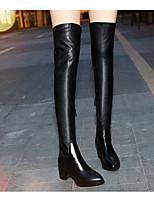 abordables -Mujer Zapatos Cuero de Napa Cuero Invierno Otoño Confort Botas de Moda Botas Tacón Cuadrado Sobre la Rodilla para Casual Negro