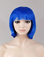 cheap -Synthetic Hair Wigs Straight Capless Natural Wigs Short Blue