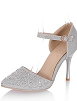 cheap -Women's Shoes Leatherette Summer D'Orsay & Two-Piece Heels Stiletto Heel Pointed Toe Sparkling Glitter for Wedding Party & Evening Silver