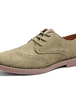 cheap -Men's Shoes Real Leather Nubuck leather PU Leather Winter Fall Comfort Oxfords Stitching Lace for Casual Burgundy Khaki Black