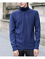 preiswerte -Herren Standard Pullover-Alltag Freizeit Solide Rollkragen Langarm Polyester Winter Undurchsichtig Mikro-elastisch