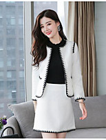 cheap -Women's Going out Work Street chic Winter Fall Blazer Skirt Suits,Solid Round Neck Long Sleeve Pure Color Polyester Micro-elastic