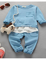 cheap -Baby Boys' Daily Solid Clothing Set,Polyester Spring Fall Street chic Long Sleeve Blushing Pink Blue