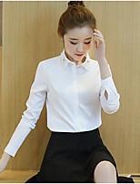 cheap -Women's Work Sophisticated Winter Fall Shirt,Solid Shirt Collar Long Sleeve Polyester Thin