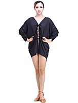 cheap -Latin Dance Dresses Women's Performance Milk Fiber Ice Silk Pleats 3/4 Length Sleeves Natural Dress