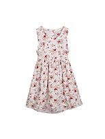 cheap -Girl's Floral Dress Summer Cute White
