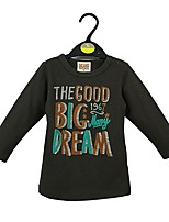 cheap -Boys' Solid Letter Tee,Cotton Spring Fall Long Sleeve Simple Camel