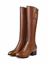 abordables -Mujer Zapatos Cuero de Napa Cuero Invierno Otoño Confort Botas de Moda Botas Tacón Cuadrado Hasta la Rodilla para Casual Negro Marrón